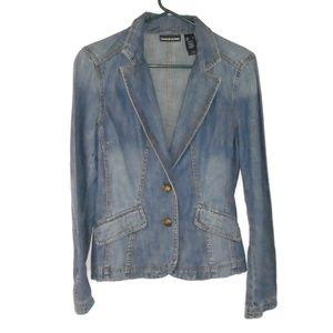 DKNY Jeans Denim Blazer Jacket Small Plunge Neck